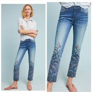 Anthro driftwood Candace embroidered crop jeans